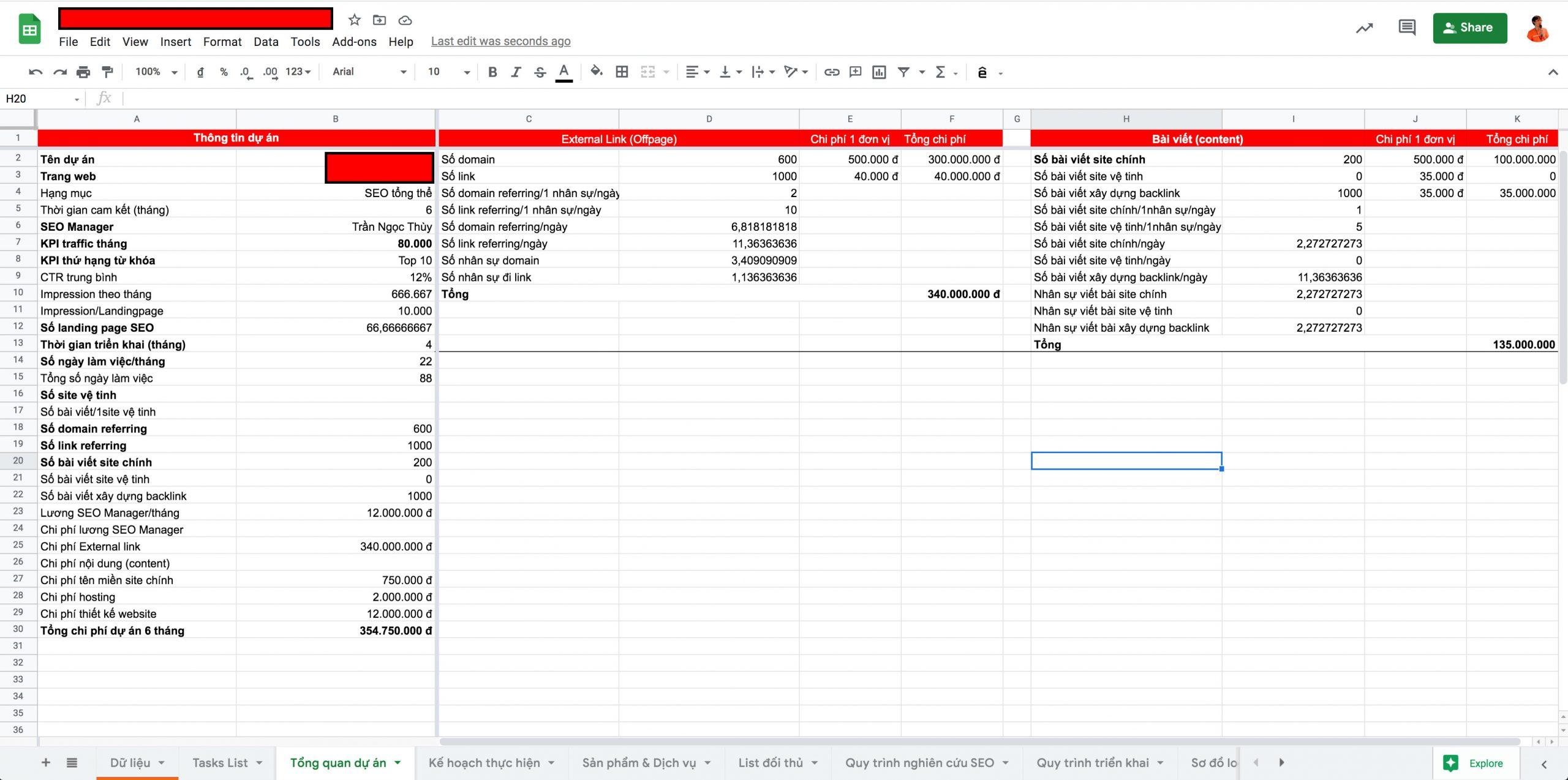 File quản lý kế hoạch SEO và báo cáo chuyên nghiệp, cập nhật thời gian thực minh bạch